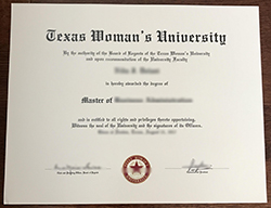 Texas Woman's University diploma sample, buy fake degree
