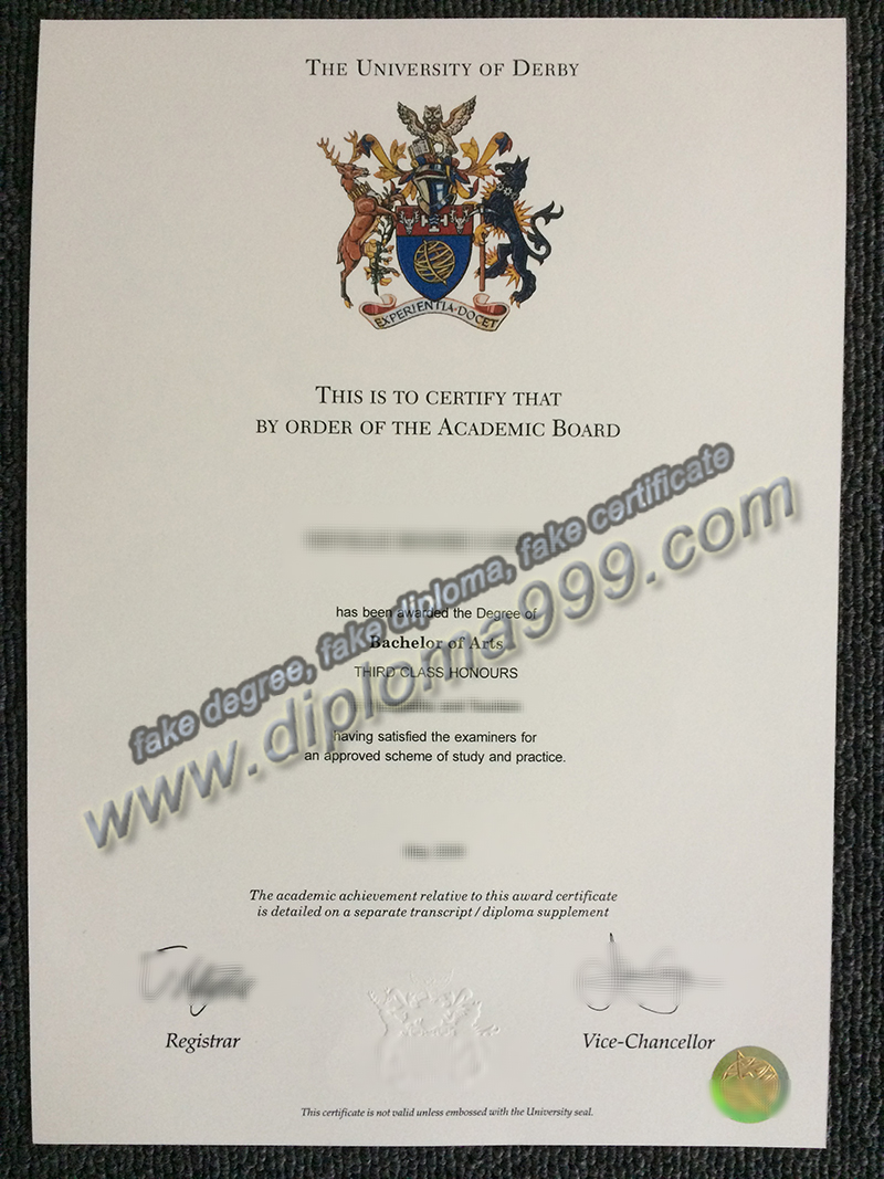 University of Derby diploma, fake University of Derby degree