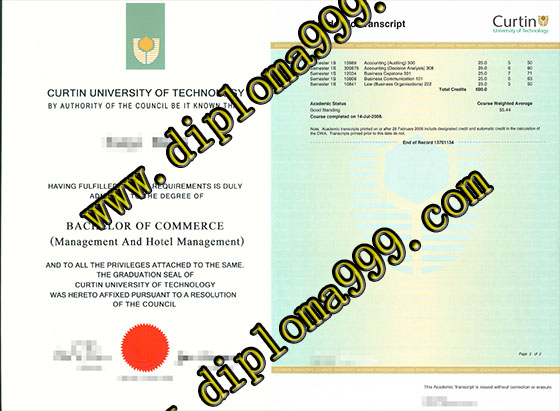 Fake Curtin University degree and transcript