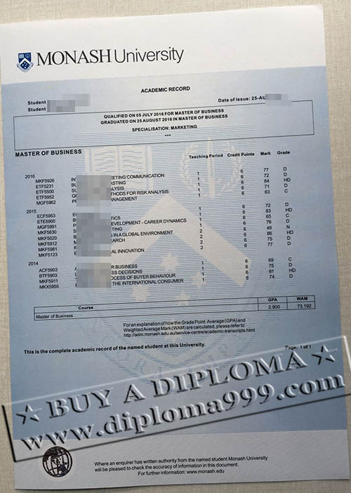 buy Monash academic record, false Monash transcript