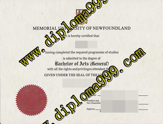 Memorial University of Newfoundland diploma, MUN degree doc