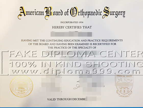 Fake Certificate of the American Board of Orthopaedic Surger