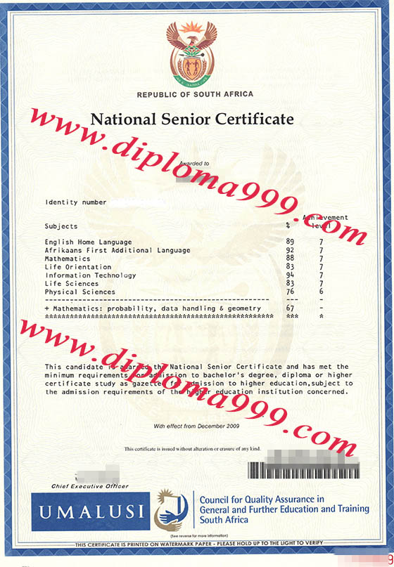 South African National Senior Certificate(NSC)