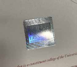 King's College London Diploma Certificate Hologram Sample