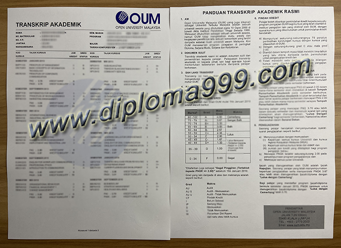 How To Get A Fake Transcript From The Open University Malaysia? OUM Transcript.