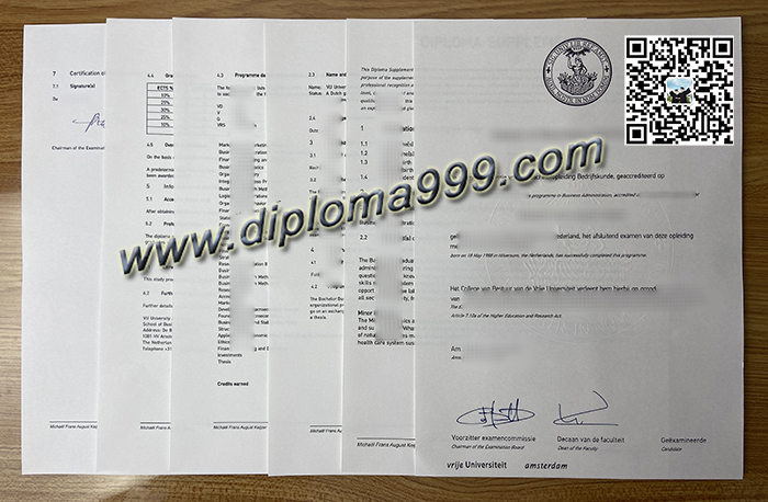 How Much To Order A Vrije Universiteit Amsterdam degree? VU Amsterdam Diploma.